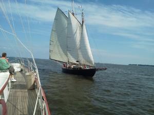 """Schooner """"Adventure"""" sailing towards Schooner Woodwind II in Annapolis"""