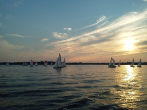 J-Boats racing in very, very light air taken from our sunset sail on the Schooner Woodwind