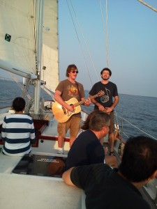 """""""The Roadside Show"""" performs on the Schooner Woodwind"""