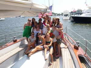 Kicking off a bachelorette party on the Schooner Woodwind