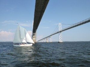 Woodwind II at the Chesapeake Bay Bridge, southbound.