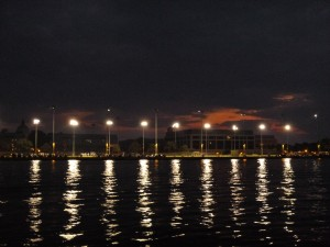 Sunset over the United States Naval Academy, taken from the Schooner Woodwind