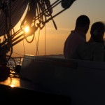 Couple in the sunset on the schooner