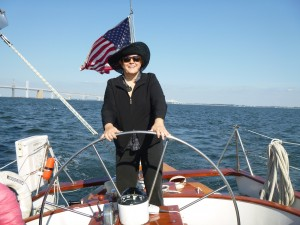 Connie sailing and celebrating