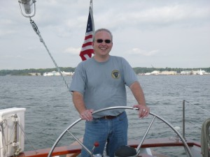 Shawn at the Wheel of Schooner Woodwind