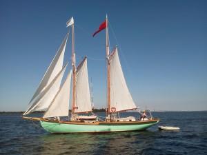 Schooner Martha White under sail, taken from Woodwind II