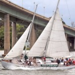 Sailing with lots of wind under the US Naval Academy Bridge