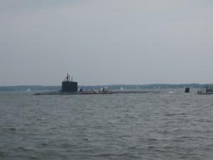 Sailing around the submarine off of Annapolis