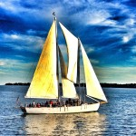 Sunsets golden glow turning the sails of the schooner to gold