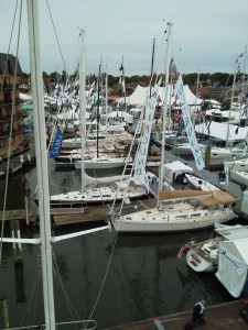 Another view from atop the mast of Woodwind II of Boat Show