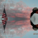Pink skies, sails and american flag