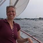 Sara sailing on the schooner