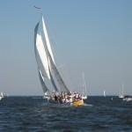 Flying over the water on the schooner
