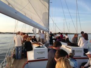 Enjoying cocktails and an evening sail
