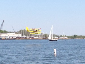 Seaplane taking off on the Severn River