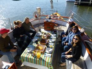 Breakfast on a beautiful morning on Schooner Woodwind.
