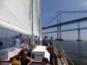 Sailing under the Chesapeake Bay Bridge.