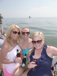 Three friends celebrating a birthday on the Schooner Woodwind!