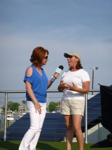Sharon, from QVC (Shopping Channel) interviewing Captain Jen about the sailing community in Annapolis. This aired LIVE at 5:40 pm on QVC .