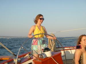 At the helm of Schooner Woodwind