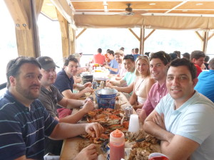 Crab eating at Cantlers, sailed over by the Woodwind