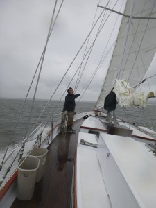 Sam on the bow on a blustery day