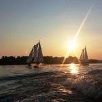Sunset behind Schooner Woodwinds I and II