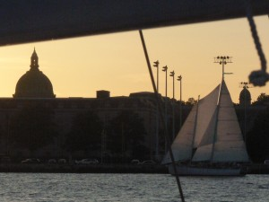 As the sun fades, the Naval Academy is a silhouetted back drop.