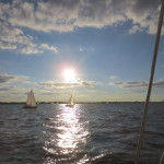 Sun reflecting on Chesapeake waters with sailboats everywhere
