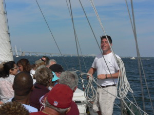Rook explains some sailing details to our guests.