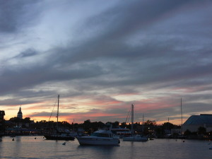 Sunset and the harbor lights.
