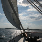 Schooner on a sunny sailing day