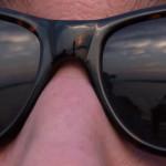 Sunglasses reflecting the sunset