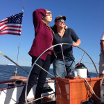 Two women steering the schooner and looking at which way to go