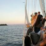 One schooner ahead of the other schooner in Wednesday night race