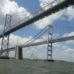 Sailing under the Chesapeake Bay Bridge