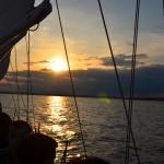 Grey and yellow sunset cruise