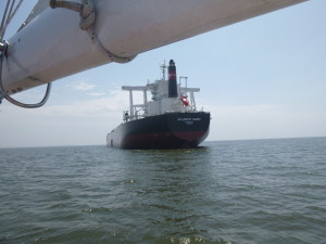 Coal carrier at anchor