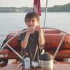 Capt. Ben at the helm of Woodwind II