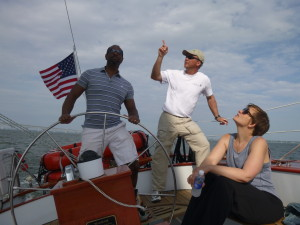 Capt. Andy showing the guests the ropes