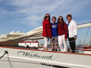 The Schneider family after a sail on Woodwind