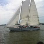 Schooner sailing along in a stiff breeze