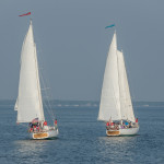 Both schooners side by side at starting line