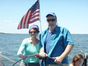 Allen and Sue celebrating His bday aboard Woodwind II