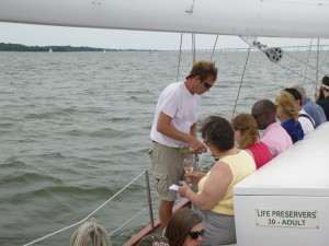 Our surefooted Sommelier/crew Glenn pouring wine and sailing at the same time