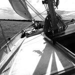 Black and white photo of the schooner on a tilt with full sails