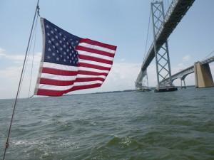 Sailing under the spans of the Bay Bridge
