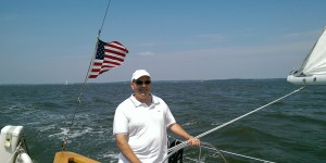 Frequent Sailor Russ at the helm.
