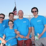 Group of five guests in blue t-shirts sailing the schooner together