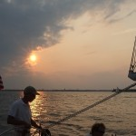 Storm rolling in behind the schooner at sunset